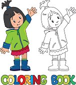 Funny little girl. Coloring book