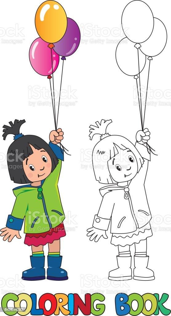 風船で面白い女の子塗り絵 4歳から5歳のベクターアート素材や画像を