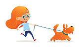 Funny little girl with red hair and glasses walking puppy on leash. Amusing redhead kid and dog isolated on white background. Child pet owner on promenade. Flat cartoon colorful vector illustration