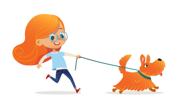 funny little girl with red hair and glasses walking puppy on leash. amusing redhead kid and dog isolated on white background. child pet owner on promenade. flat cartoon colorful vector illustration. - redhead stock illustrations, clip art, cartoons, & icons