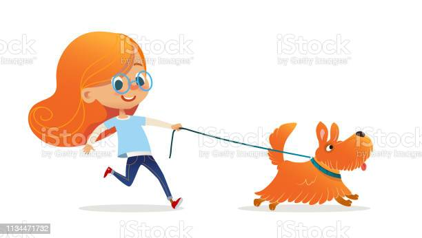 Funny little girl with red hair and glasses walking puppy on leash vector id1134471732?b=1&k=6&m=1134471732&s=612x612&h=wmroxiiryemcab9reydmv1makbn3brvckxam3diwx2o=