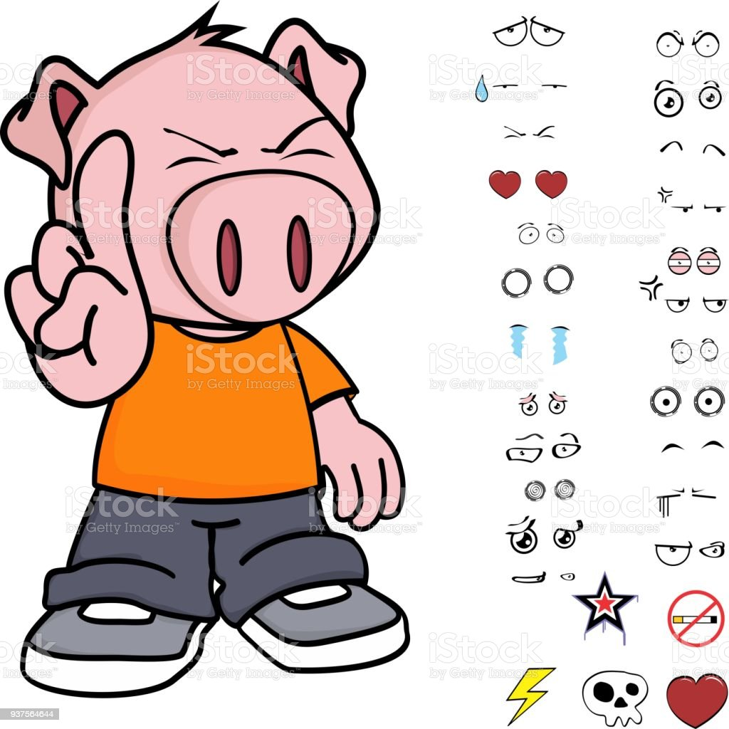 Funny Little Kid Pig Expressions Set Royalty Free Funny Little Kid Pig Expressions Set Stock