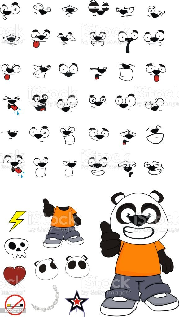 funny little panda bear kid expressions set royalty-free funny little panda bear kid expressions set stock vector art & more images of angel