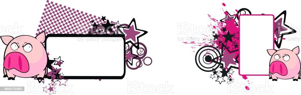 funny little pink pig cartoon copy space set royalty-free funny little pink pig cartoon copy space set stock vector art & more images of cartoon