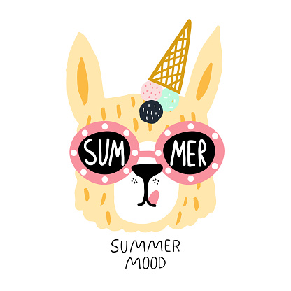 Funny llama face in sunglasses and ice cream on their heads. Childish summer print for fabric, t-shirt, poster, card, baby shower. Vector Illustrtion