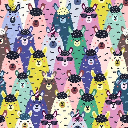 Funny llamas colorful seamless pattern. Childish background with cute alpaca