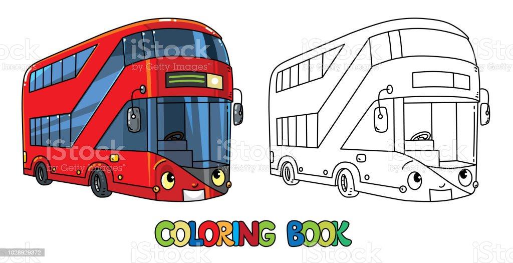 Komik Londra Otobüs Gözleri Olan Boyama Kitabı Stok Vektör Sanatı