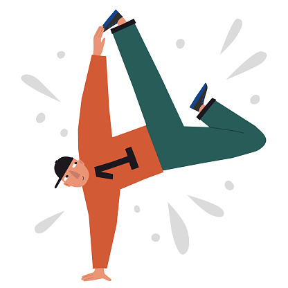 Funny male street dancer in flat style isolated on white background. Breakdance