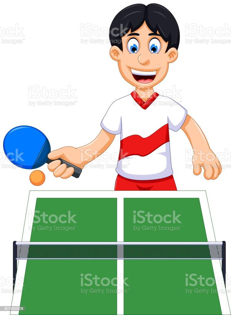 funny man cartoon playing table tennis Lizenzfreies funny man cartoon playing table tennis stock vektor art und mehr bilder von charakterkopf