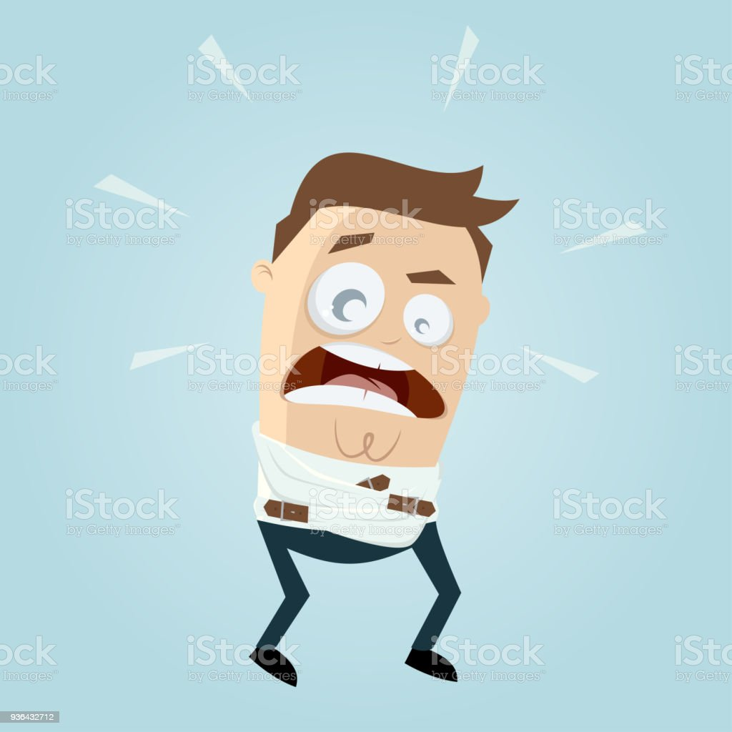 funny man in straightjacket vector art illustration