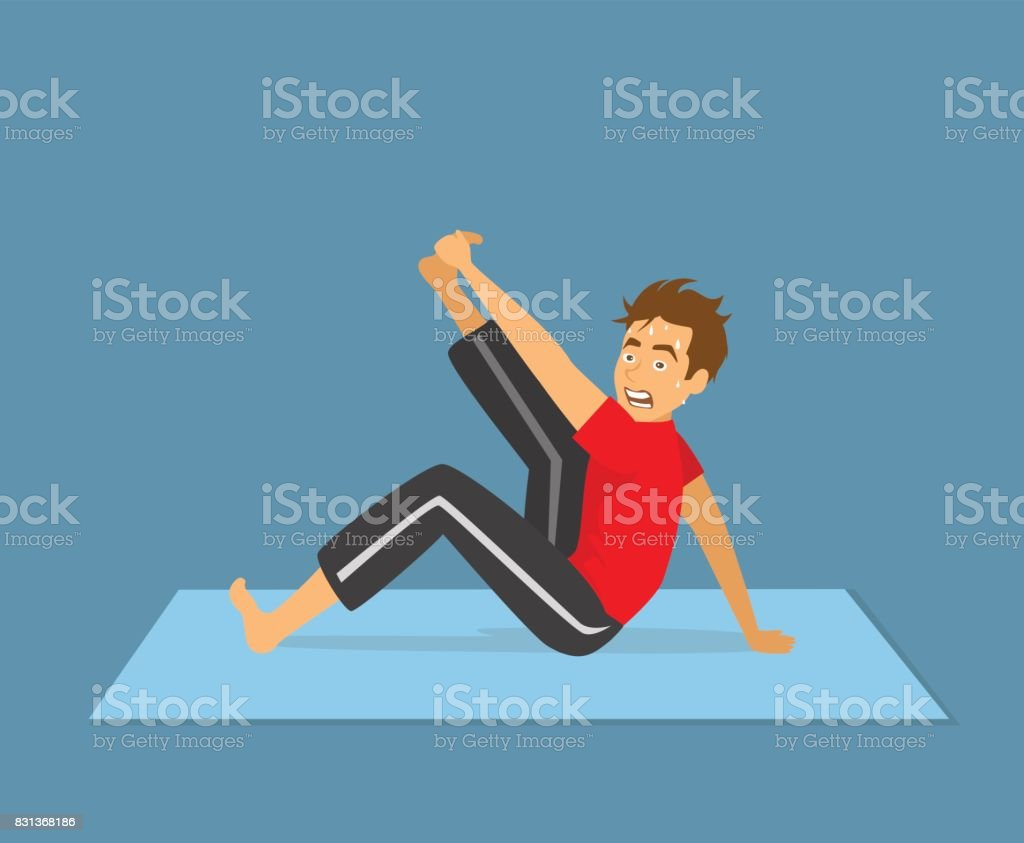 funny man struggling with yoga stretching exercise vector art illustration