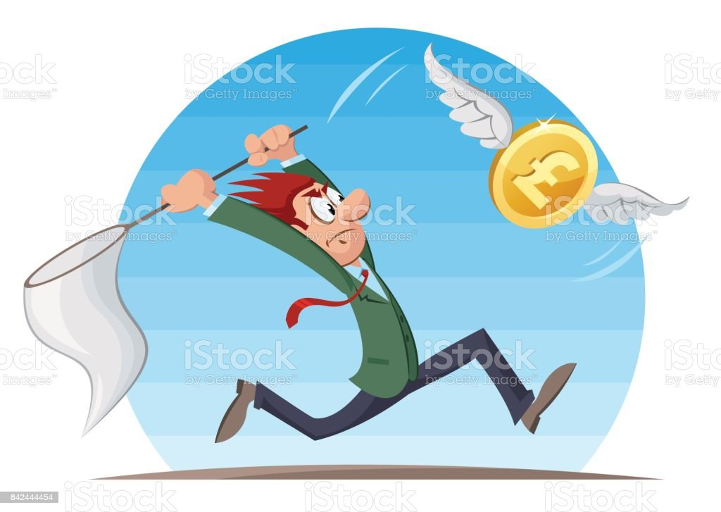 Funny man trying to catch pound sterling coin with a butterfly net. Cartoon styled vector illustration. Elements is grouped and divided into layers. vector art illustration