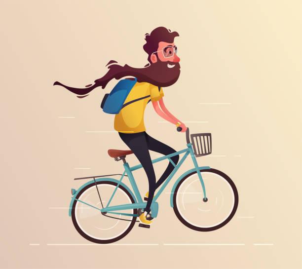 lustiger mann mit langem bart mit dem fahrrad fahren. oldtimer fahrrad. cartoon-vektor-illustration - lustige fahrrad stock-grafiken, -clipart, -cartoons und -symbole
