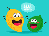 Funny mango and lime with the slogan. Best friends forever. Bright vector illustration with citrus and fruit. Handwritten text, lettering.