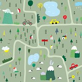 Funny map seamless pattern with nature, landscape and camping - vector graphic illustration