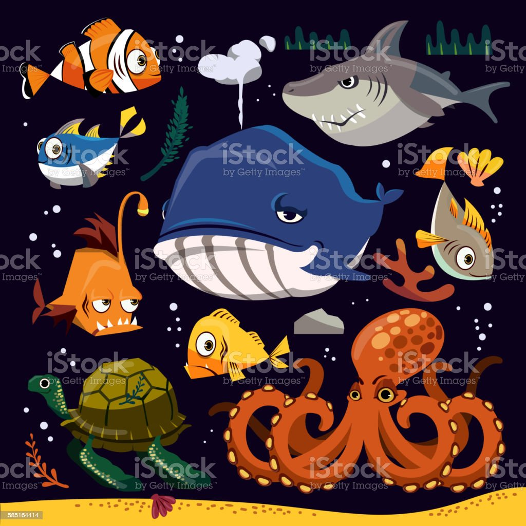 Funny marine life collection vector art illustration