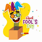 funny mask with joker hat to fools day vector illustration