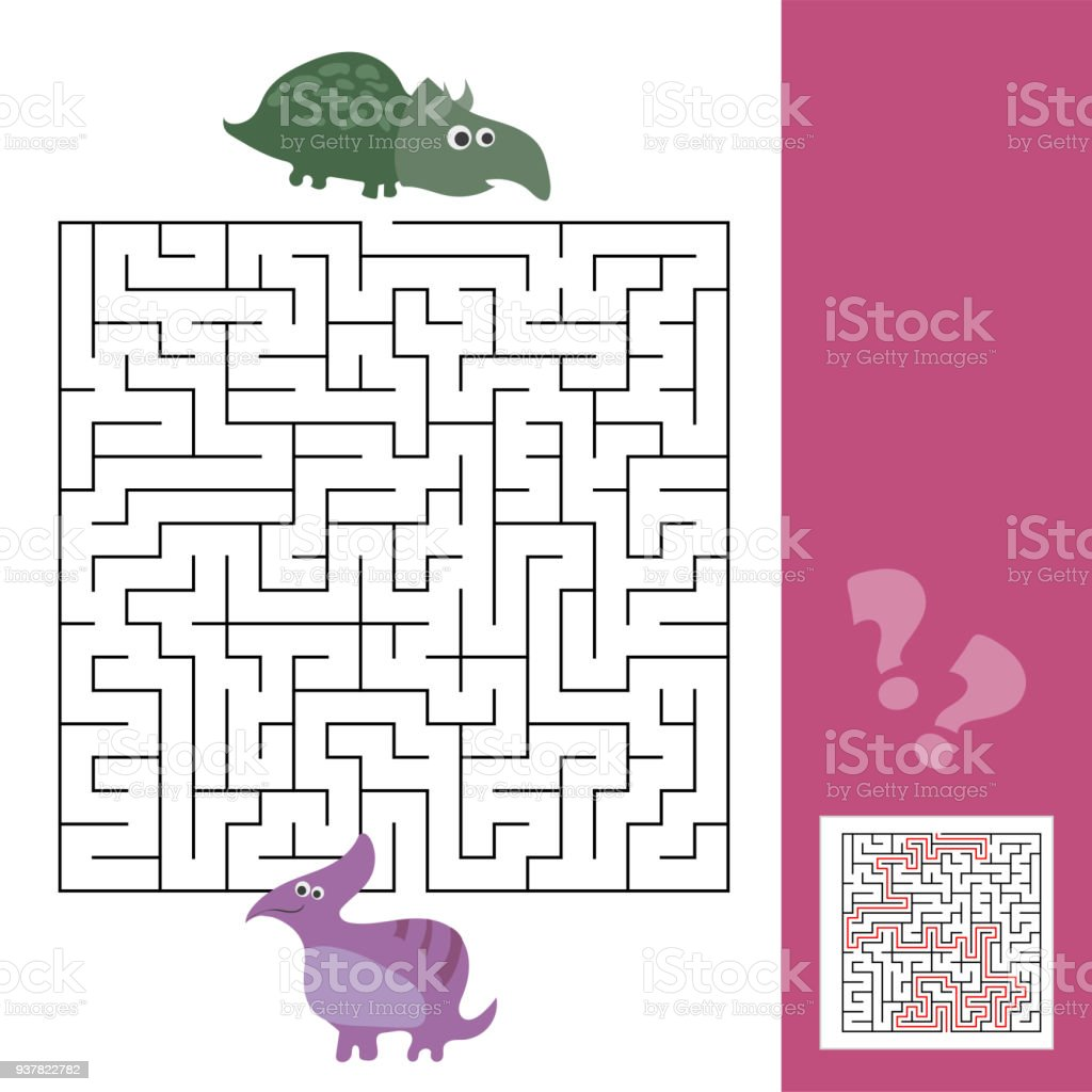 Lustiges Labyrinth Für Kinder Helfen Sie Das Dino Freund Zu Finden ...