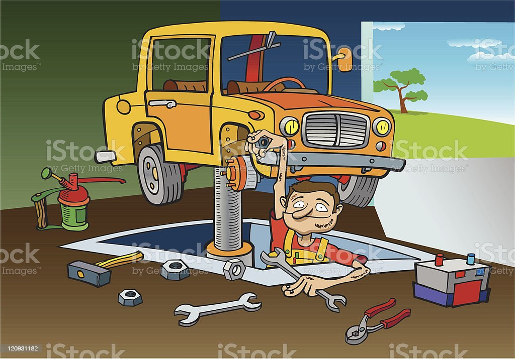Funny Mechanic royalty-free funny mechanic stock vector art & more images of a helping hand