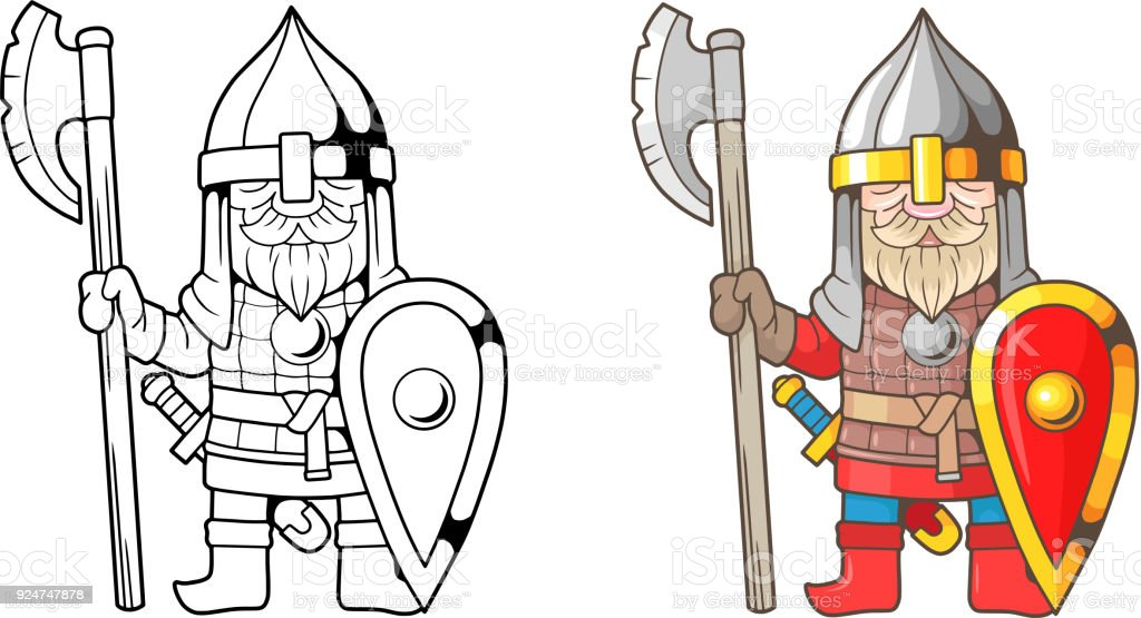 Funny Medieval Russian Warrior Coloring Book Stock Vector Art & More ...