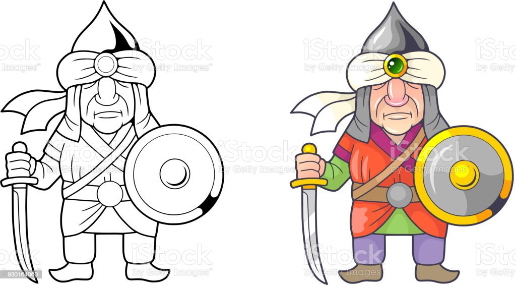 Funny Medieval Warrior Arab Coloring Book Stock Vector Art & More ...