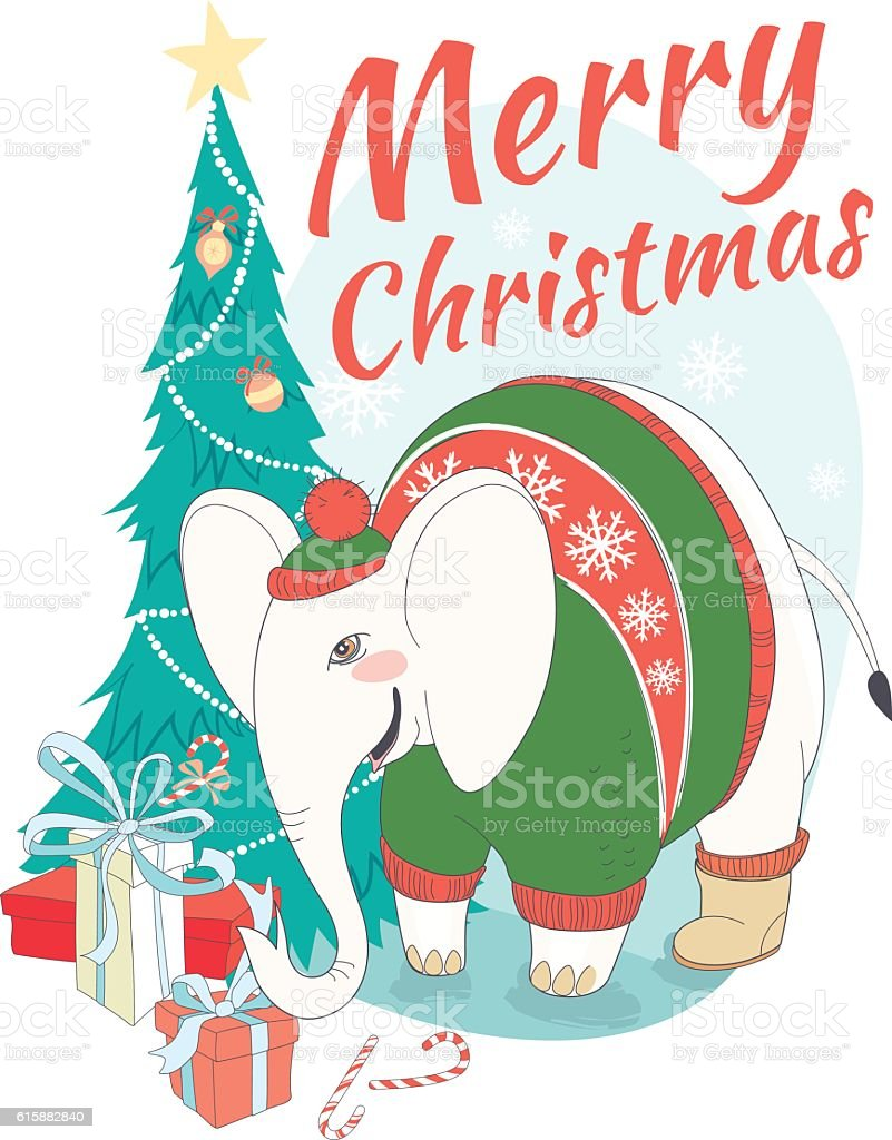 Funny Merry Christmas Card With Elephant Wearing Cute Sweater Stock