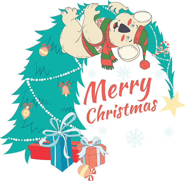 Royalty free australian christmas clip art vector images funny merry christmas card with koala wearing cute sweater vector art illustration m4hsunfo