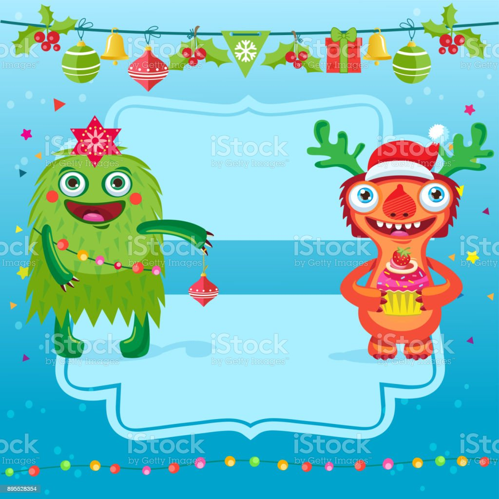Funny Merry Christmas Vector Card Greeting Card With Cartoon