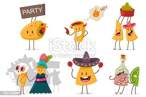 Cute mexican food vector cartoon flat character set.