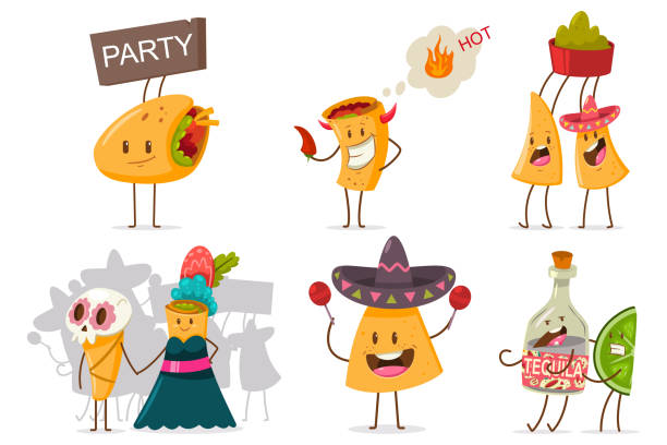 Funny Mexican food and drink vector set. Cute nachos, tequila, lime, burrito and taco cartoon character with different emotions isolated on a white background. Cute mexican food vector cartoon flat character set. avocado clipart stock illustrations