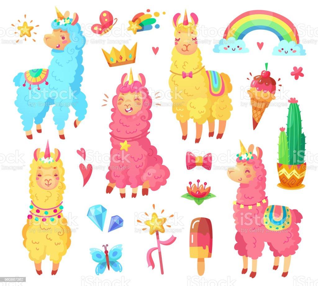 ふわふわ羊毛とかわいい虹ラマ ユニコーン面白いメキシコ笑顔アルパカ