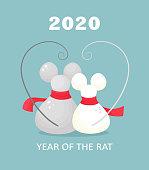 Funny mice sit hugging, symbol of 2020. Vector illustration in cartoon flat style.