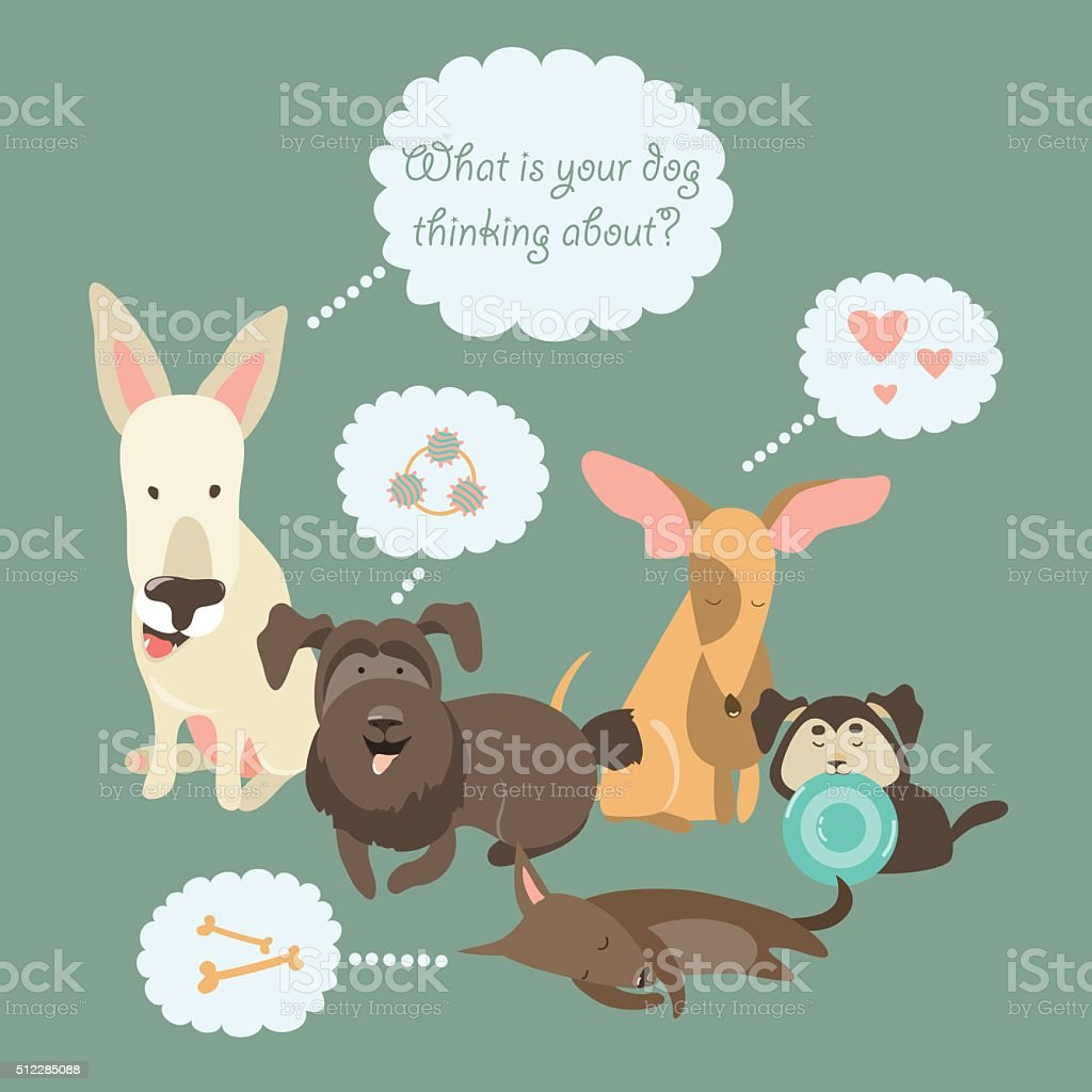 Funny Mixed Breed dogs with Speech Bubble vector art illustration