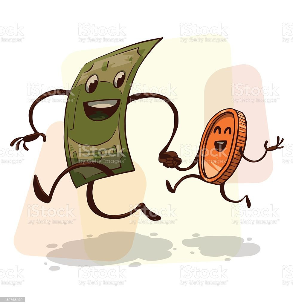 funny money banknote and coin running stock vector art more images rh istockphoto com Stacks of Money Clip Art Raining Money Clip Art