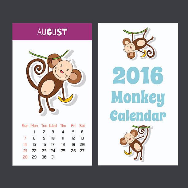 面白い猿カレンダーページ 2016 ます。8 月です。 - 野生動物のカレンダー点のイラスト素材/クリップアート素材/マンガ素材/アイコン素材