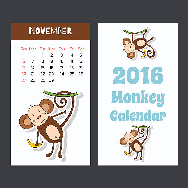 面白い猿カレンダーページ 2016 ます。11 月です。 - 野生動物のカレンダー点のイラスト素材/クリップアート素材/マンガ素材/アイコン素材