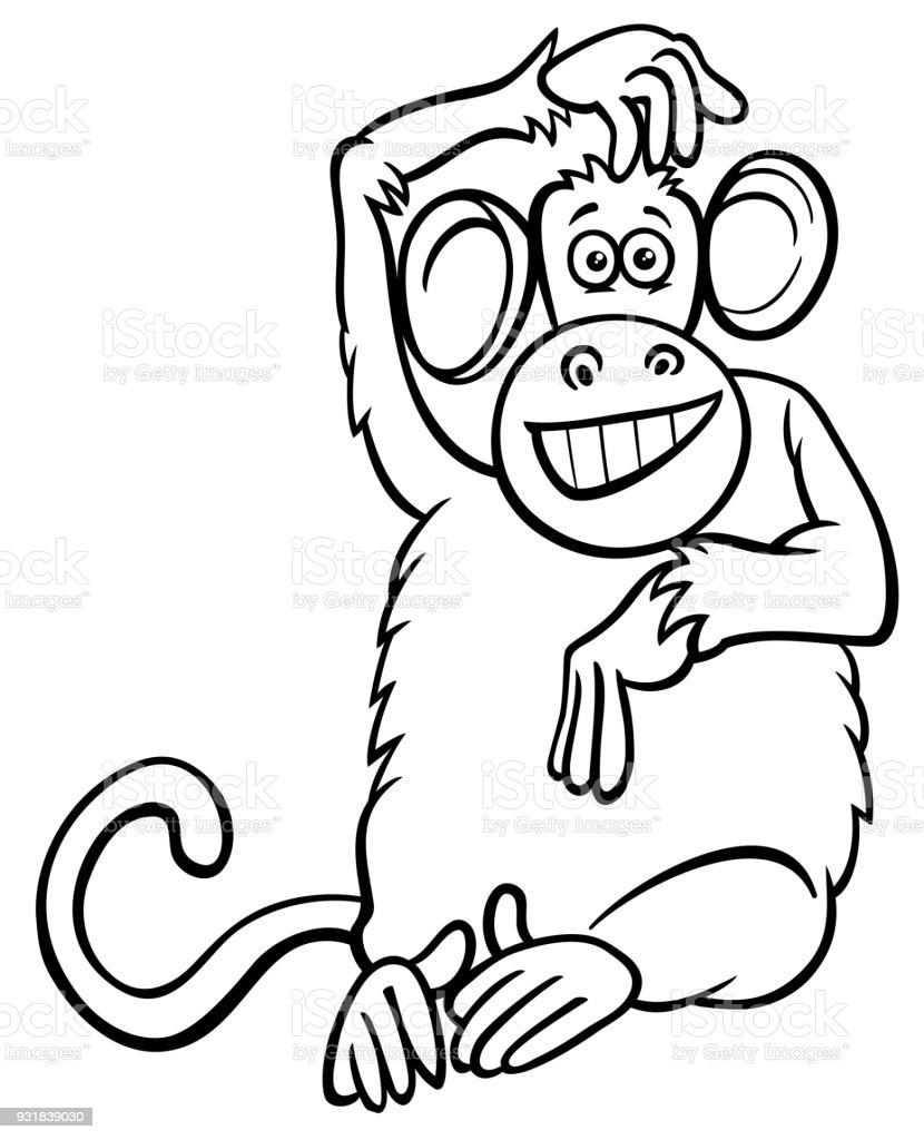 Komik Maymun Karakter Karikatur Kitap Boyama Stok Vektor Sanati