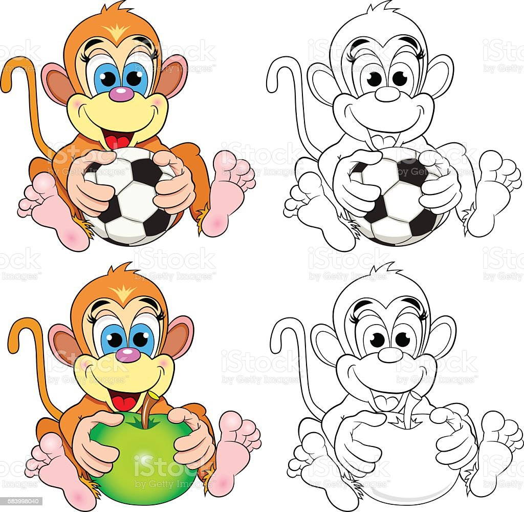 Funny Monkey Color Picture And A Coloring Book Stock Vektor Art Und