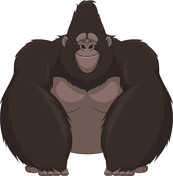 Funny monkey Vector illustration of funny gorilla sitting and smiling gorilla stock illustrations