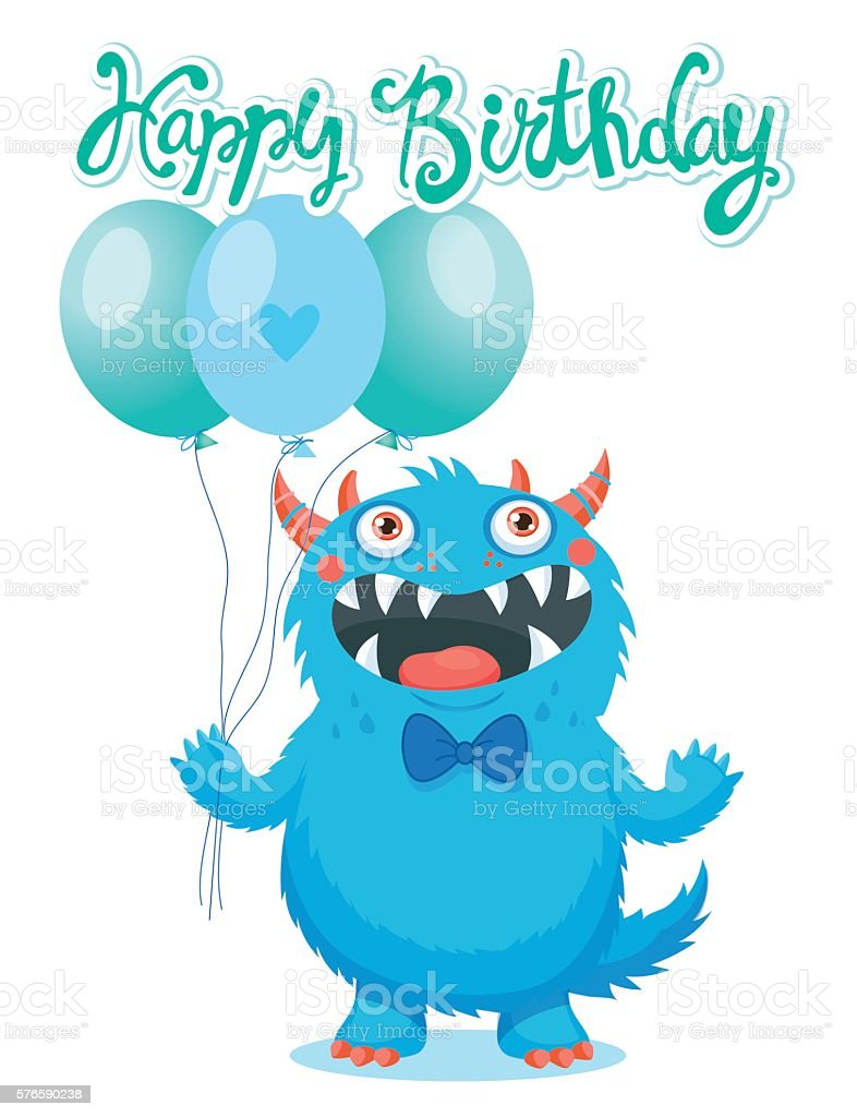 Funny Monster Birthday Greeting Card Theme Lizenzfreies