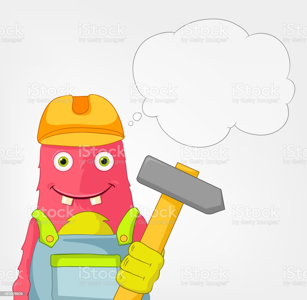 Funny Monster. Contractor. royalty-free stock vector art