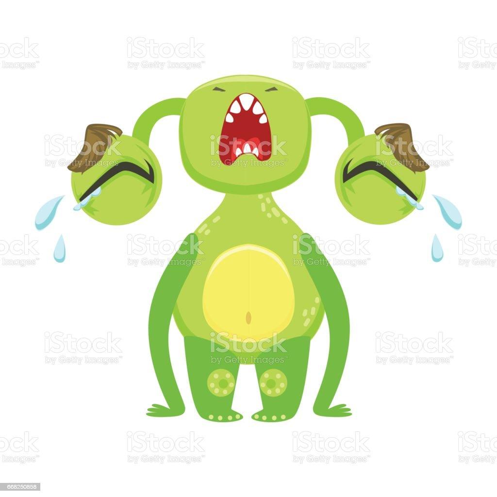 Funny Monster Crying Out Loud, Green Alien Emoji Cartoon Character Sticker funny monster crying out loud green alien emoji cartoon character sticker - immagini vettoriali stock e altre immagini di animale royalty-free