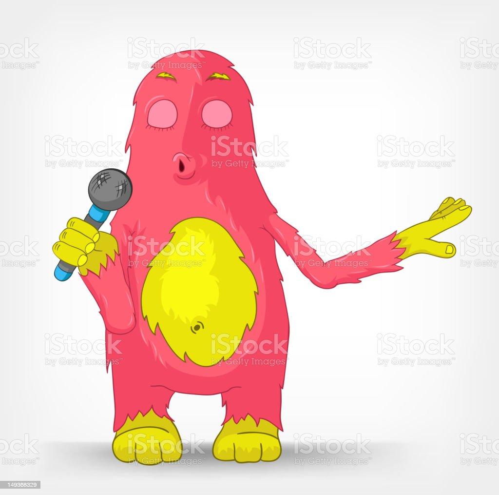 Funny Monster. Singing. royalty-free stock vector art