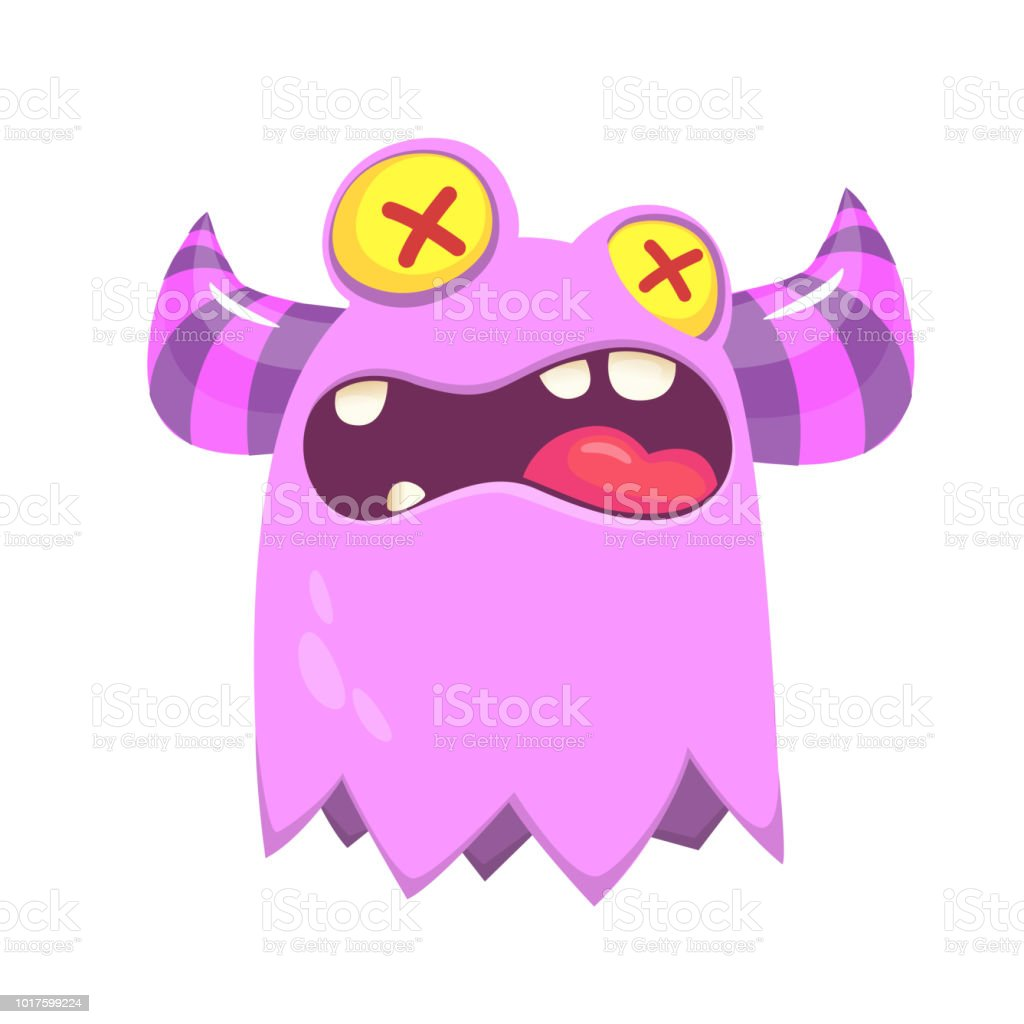funny monster with deadly eyes scary halloween character cartoon