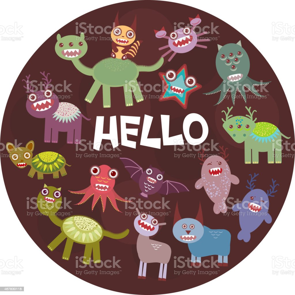 Funny monsters party card design dark background in the circle.