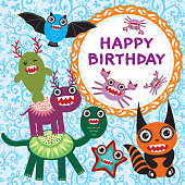Funny monsters party card design. vector