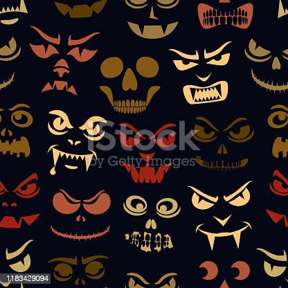 Funny monsters seamless pattern. Halloween pumpkins carved faces silhouettes. Holiday cartoon characters background. Vampires, skeletons, demons stencil. Kids scrapbook digital paper, textile print
