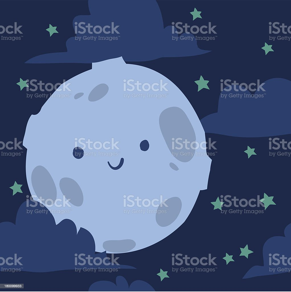 Funny moon with tiny stars seamless background pattern for kids vector art illustration