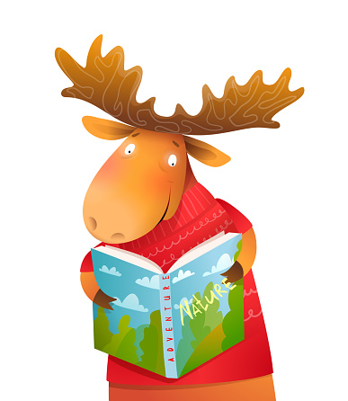 Funny Moose Reading Book in Winter Kids Character