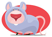 vector illustration of funny mouse character